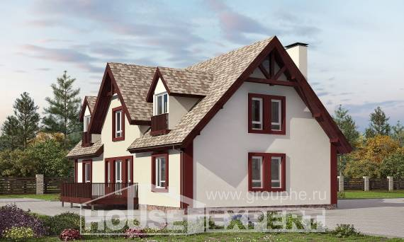 300-008-L Two Story House Plans with mansard with garage under, spacious Home Blueprints