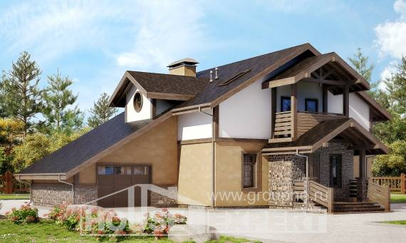 180-011-L Two Story House Plans with mansard with garage in front, average Home House,
