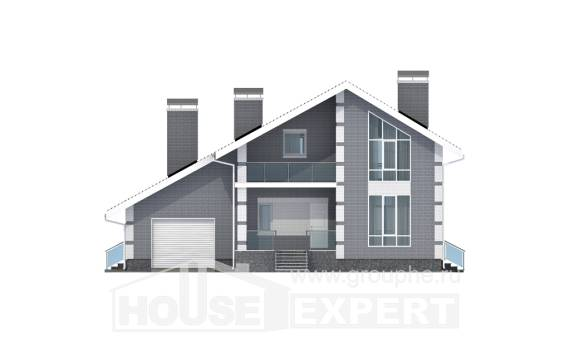 190-006-L Two Story House Plans with mansard with garage under, cozy Plan Online,