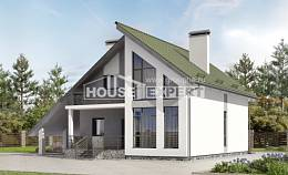 170-009-L Two Story House Plans with mansard with garage, small Villa Plan, House Expert