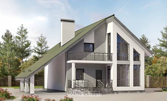 170-009-L Two Story House Plans and mansard with garage in back, modern House Building,