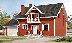180-013-L Two Story House Plans and mansard with garage under, small Drawing House