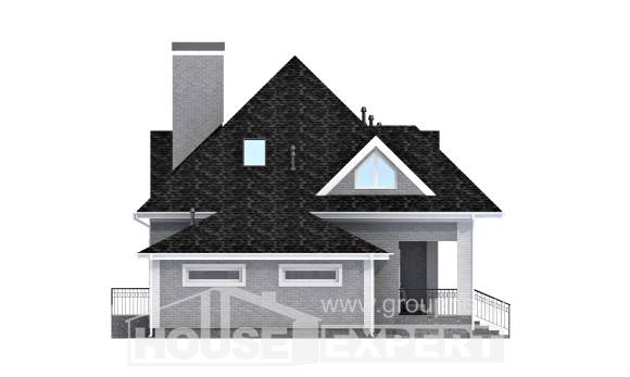 135-001-L Two Story House Plans with mansard and garage, compact Villa Plan,