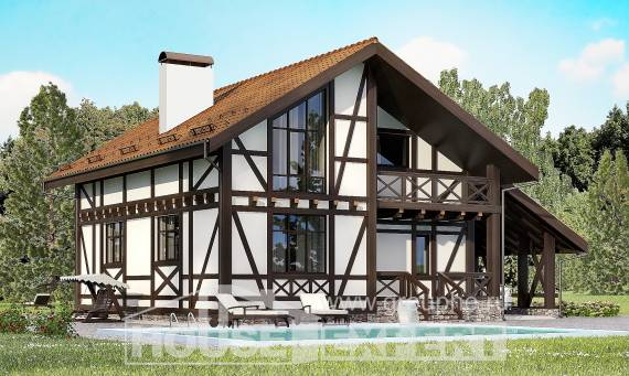 155-002-R Two Story House Plans with mansard with garage under, compact House Plans,