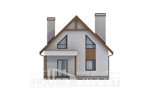 120-005-R Two Story House Plans and mansard with garage, inexpensive Blueprints,