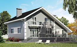 190-006-L Two Story House Plans with mansard and garage, a simple Tiny House Plans,