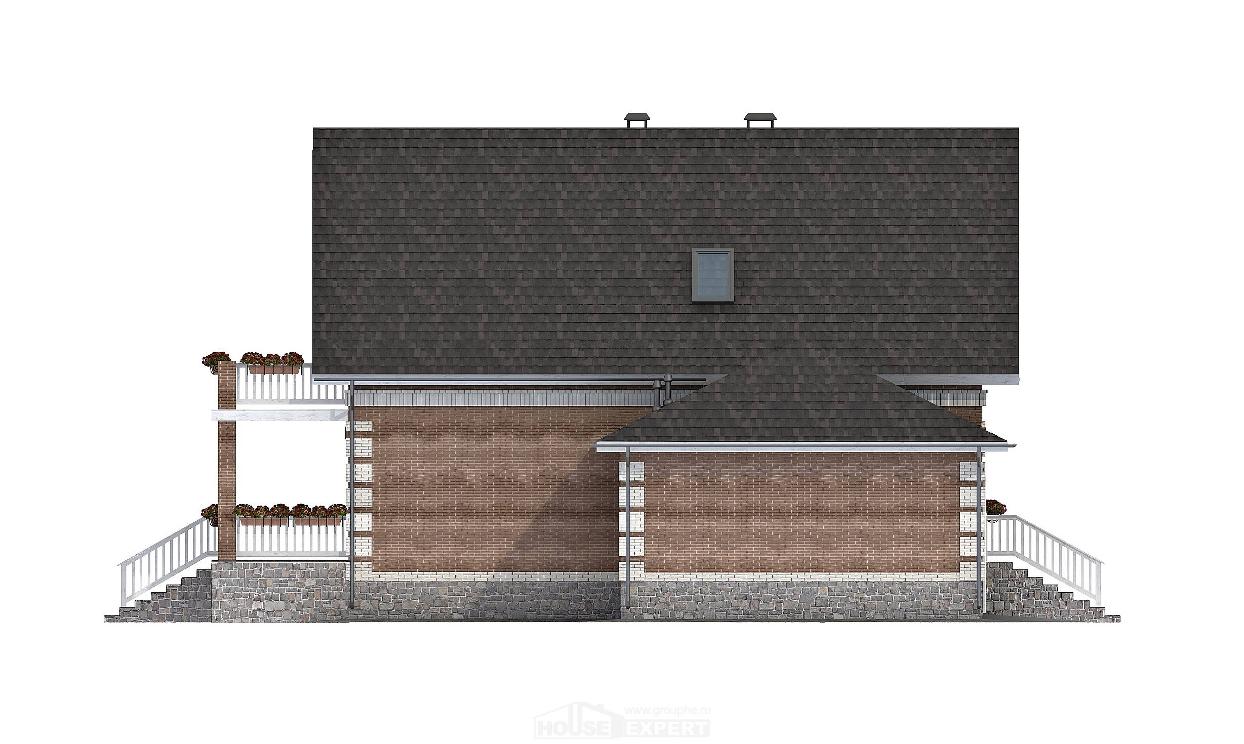 200-009-L Three Story House Plans with mansard roof with garage, spacious Construction Plans