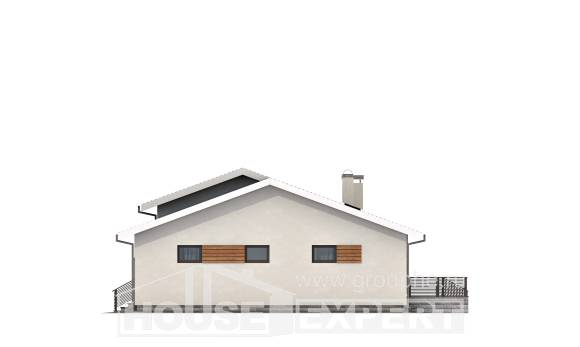 135-002-R One Story House Plans with garage in back, cozy House Blueprints,