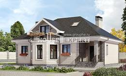 150-013-R Two Story House Plans with mansard roof, modern Home Blueprints,