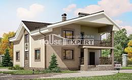 210-003-R Two Story House Plans with mansard, cozy Floor Plan,