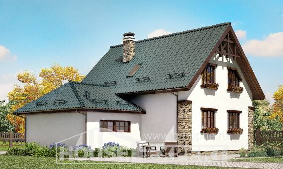 160-005-R Two Story House Plans and garage, compact Home Blueprints,