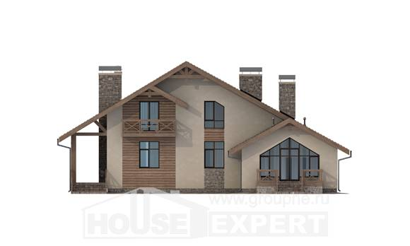 265-001-L Two Story House Plans and mansard with garage under, big House Blueprints, House Expert