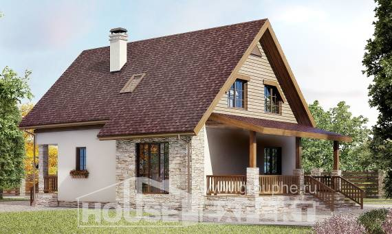 140-001-R Two Story House Plans with mansard roof, modest Blueprints,
