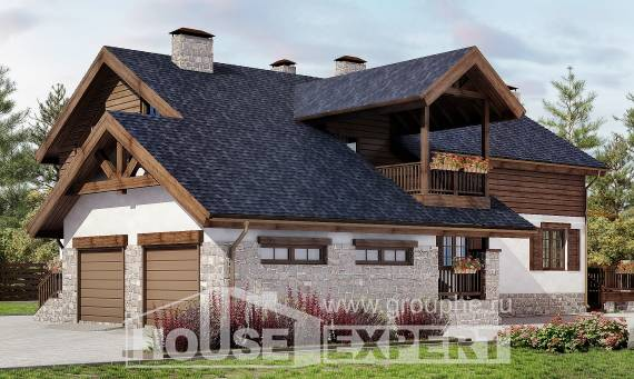 240-002-L Two Story House Plans and mansard with garage, beautiful Construction Plans,