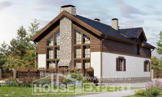 240-002-L Two Story House Plans with mansard roof with garage in front, luxury Cottages Plans,