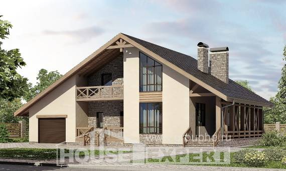 265-001-L Two Story House Plans with mansard roof with garage under, big House Blueprints, House Expert