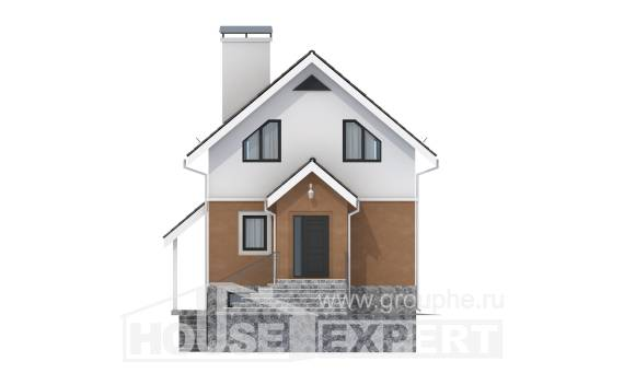 100-005-L Two Story House Plans with mansard, economical Drawing House