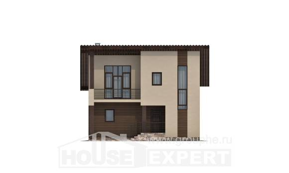 140-005-L Two Story House Plans and mansard, inexpensive Design Blueprints,
