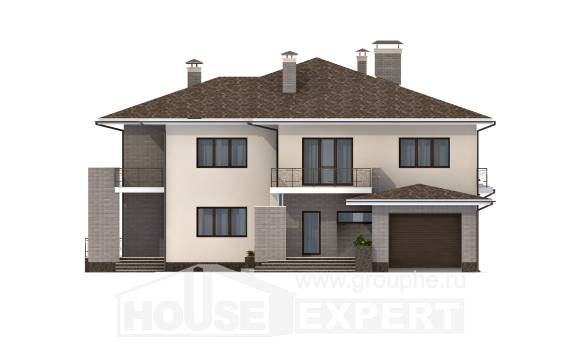 500-001-R Three Story House Plans with garage in back, big Villa Plan,