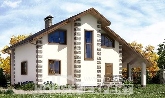 150-003-L Two Story House Plans with mansard roof with garage, economical Tiny House Plans, House Expert