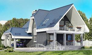 125-002-L Two Story House Plans with mansard roof with garage in back, the budget Models Plans