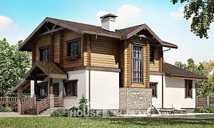 170-004-L Two Story House Plans with mansard roof with garage under, the budget Architects House