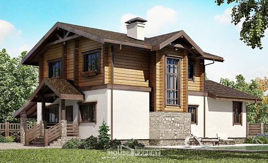 170-004-L Two Story House Plans and mansard with garage in back, modern Design House,