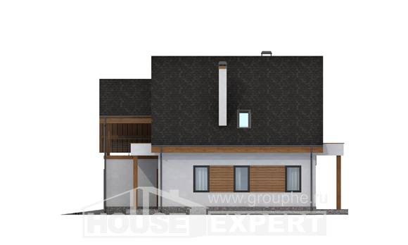 120-005-R Two Story House Plans with mansard roof with garage in back, modest House Blueprints,