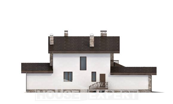 220-001-R Two Story House Plans and mansard and garage, average Construction Plans,