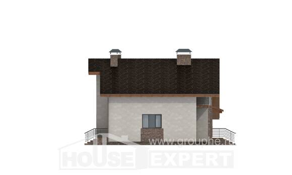180-008-R Two Story House Plans and mansard with garage in back, average Construction Plans,
