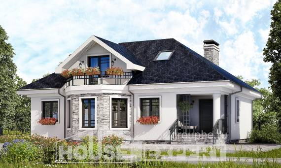 150-008-R Two Story House Plans with mansard, modest Building Plan,