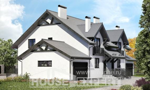 290-003-R Two Story House Plans with mansard with garage under, modern Custom Home,