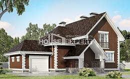 190-003-L Two Story House Plans with mansard with garage under, cozy Blueprints of House Plans,