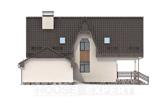 150-001-L Two Story House Plans and mansard with garage in front, classic Floor Plan, House Expert