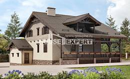 255-002-R Two Story House Plans and mansard with garage in front, a huge Villa Plan,