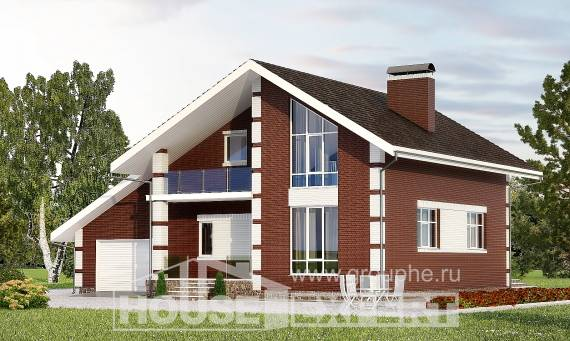 180-001-L Two Story House Plans with mansard with garage in front, compact Models Plans, House Expert