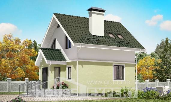 070-001-R Two Story House Plans with mansard, tiddly Villa Plan,