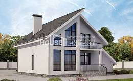 200-007-L Two Story House Plans with mansard and garage, cozy Woodhouses Plans,
