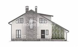 180-017-L Two Story House Plans with mansard roof with garage in back, classic Design Blueprints,
