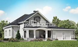 385-001-R Two Story House Plans and mansard with garage in front, big House Planes,