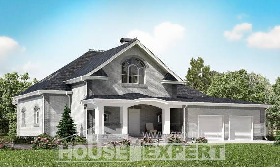 385-001-R Two Story House Plans with mansard roof with garage under, luxury Construction Plans, House Expert
