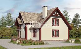 300-008-L Two Story House Plans with mansard with garage in back, classic Villa Plan,
