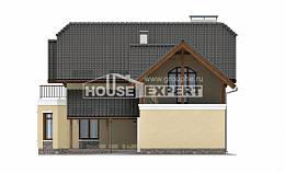 255-003-R Two Story House Plans with mansard roof with garage in back, big Blueprints