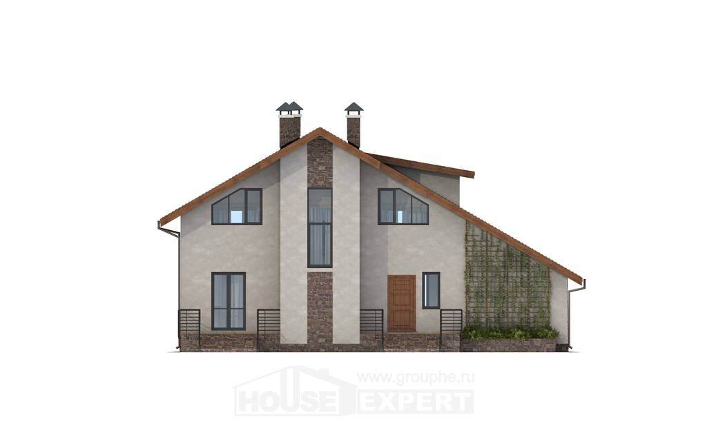180-008-L Two Story House Plans with mansard roof with garage, luxury Blueprints of House Plans,