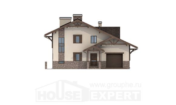 305-002-L Three Story House Plans with mansard with garage under, spacious Villa Plan
