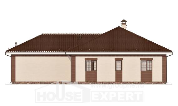 160-015-R One Story House Plans with garage in back, modest Blueprints,