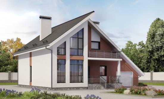 200-007-R Two Story House Plans with mansard roof and garage, a simple Timber Frame Houses Plans, House Expert