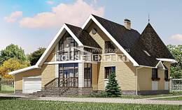 250-001-L Two Story House Plans and mansard with garage under, cozy Blueprints of House Plans,