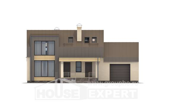 150-015-L Two Story House Plans with mansard roof with garage in front, the budget Construction Plans, House Expert