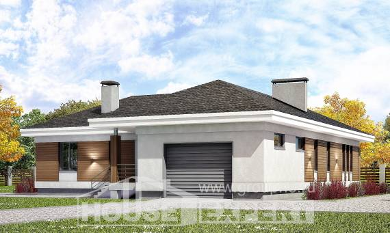 165-001-R One Story House Plans with garage, small Blueprints